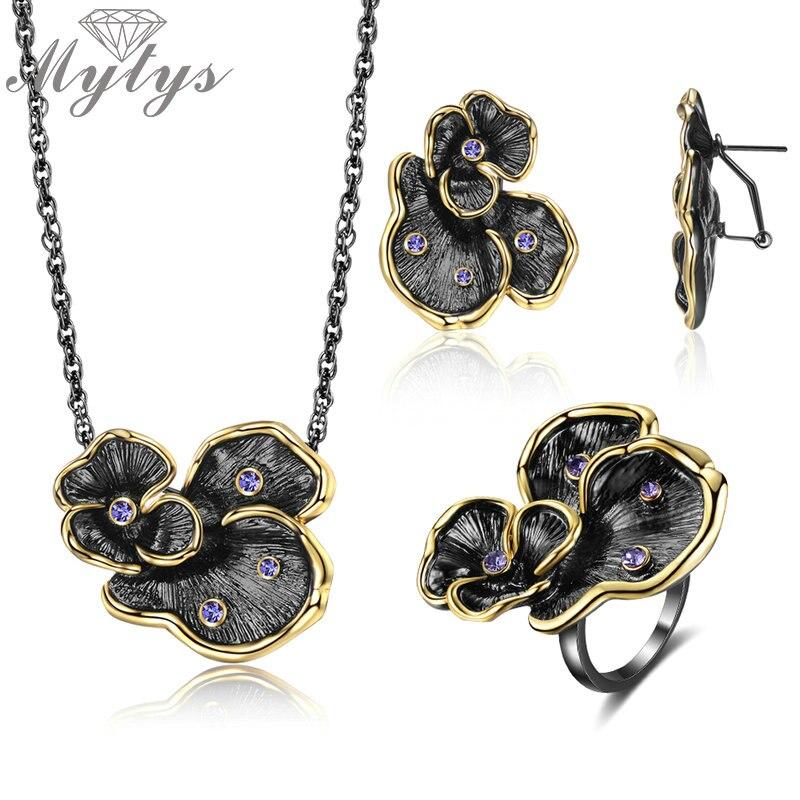 Женский винтажный набор ювелирных изделий Mytys, ожерелье с желтым золотом и серьги в виде цветов|Ювелирные наборы|   | АлиЭкспресс