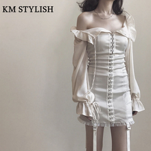 ФОТО  Ruslana Korshunova Flare Sleeve Autumn Royal Ladies Tube Top Dress Vintage Waist Lacing Strapless Slim One-piece Dress