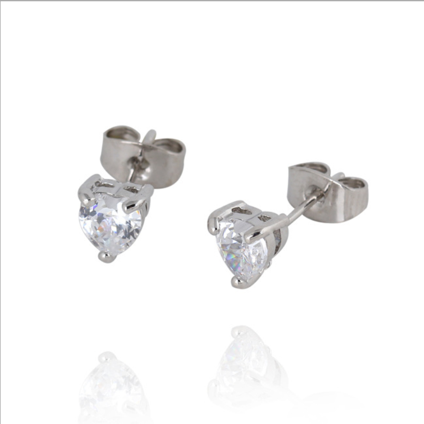 Kids Jewelry White Gold Color Aaa Cubic Zirconia Cz Heart Stud Earrings Anti Allergic For Children S Hot Gift In From