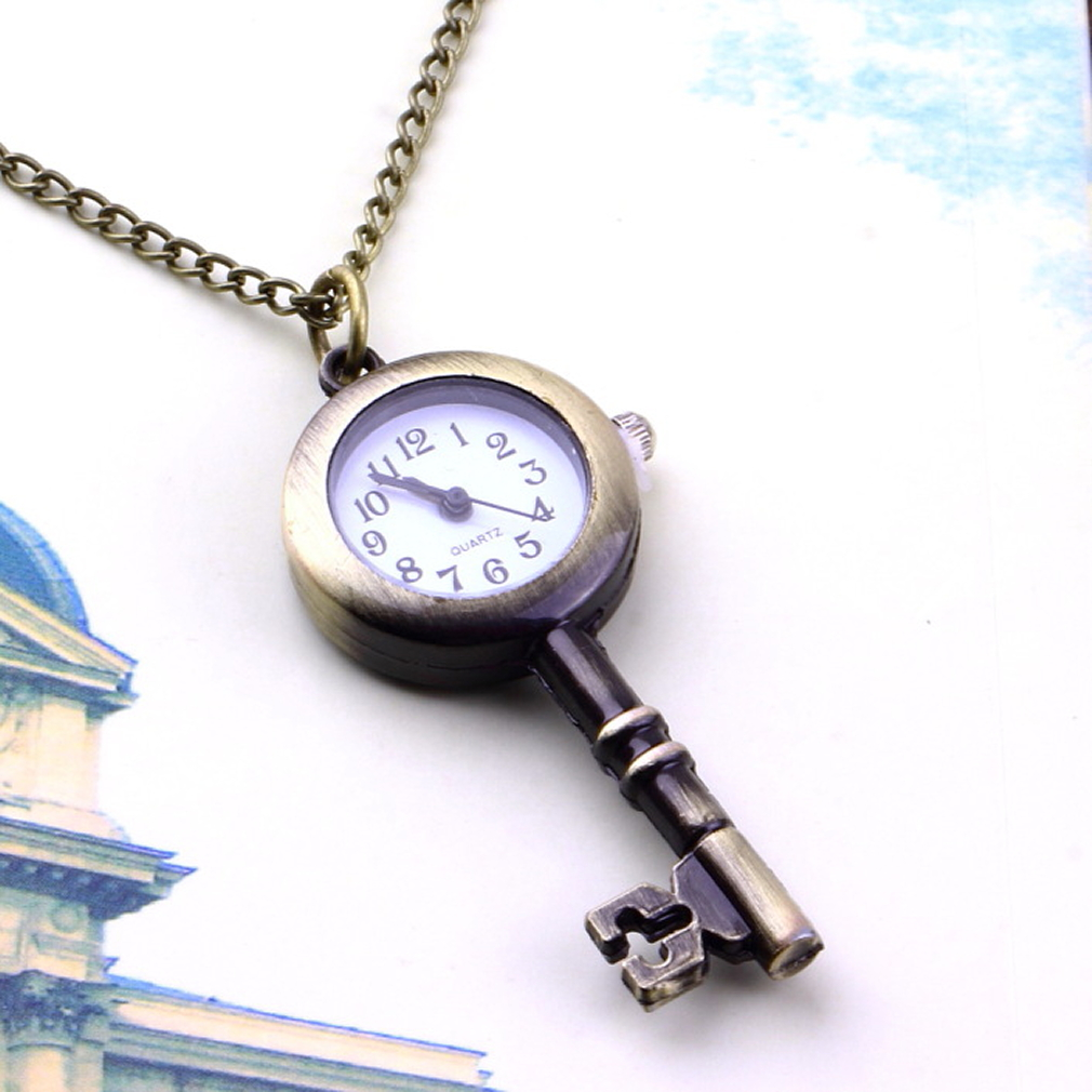 Fashion Unipue Style Key Shaped Watch Bronze Retro Necklace Pocket Watches Unisex Lover Pendant Gift For Father Dad