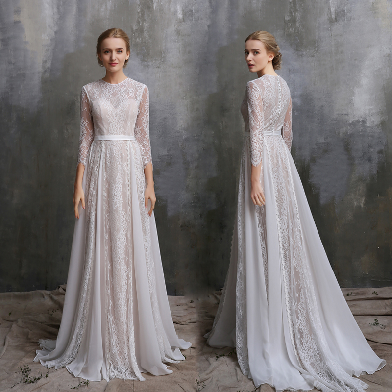 SHAMAI  Modest Wedding Dresses 2019 Vintage Wedding Gowns Plus Size Bride Dress Lace 3/4 Sleeves Bridal Gowns Custom Make Платье
