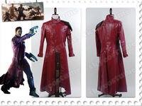 Стражи Галактики Питер Квилл Звездный лорд Хэллоуин супергероя Косплэй костюм красный кожаный Тренч для взрослых Для мужчин полный компле
