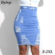 Fashion Hole Denim Skirt Women Sexy Blue Bodycon Jeans Skirts 2019 Summer Ladies High Waist Midi Slim Pencil skirt Plus Size