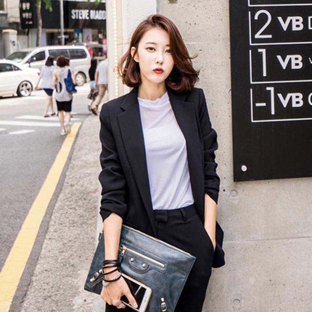 Senhora do escritório conjunto blazer + calça terno para as mulheres conjuntos de inverno 2 peça set mulheres terno das mulheres do sexo feminino dois-peça outono jaqueta de negócios
