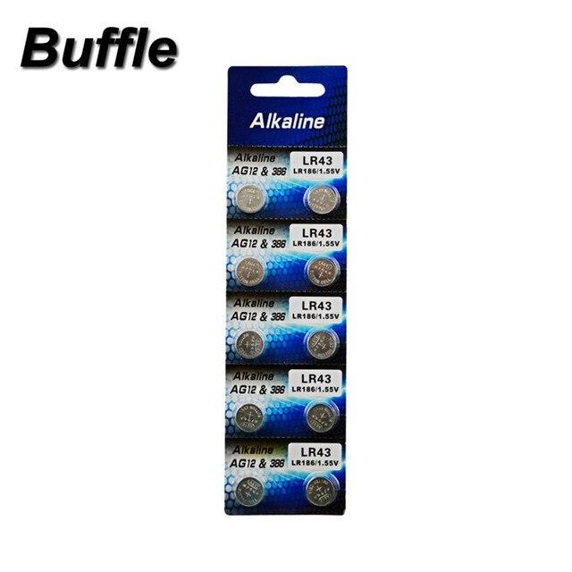 b66d6501c 10 unids/pack Buffle LR43 AG12 batería 386A SR43 186 LR1142 1,55 V ...
