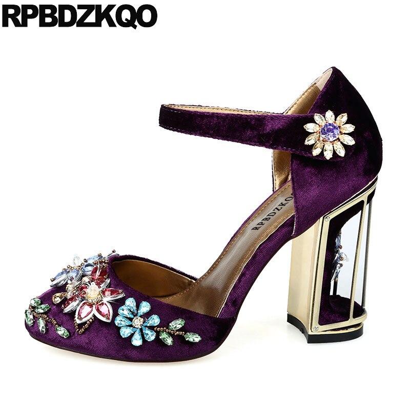 Metal Pumps Diamond Handmade Flower Rhinestone Ankle Strap High Heels Velvet Ladies Crystal Block Purple Wedding Shoes Wine Red