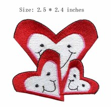 "Smilling heart embroidery patch 2.5"" wide /red and white/warmth/apron patches"
