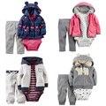 Baby Girl Boy Ropa set 3 unids Traje Con Capucha de Manga Larga Outwear Larga de Algodón suave Pantalones Bebes Muchacha de Los Muchachos conjunto