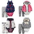 Conjunto de Roupas Da Menina do Menino do bebê 3 pcs Bodysuit Com Capuz Longo-Luva Exteriores de Algodão macio Calças Compridas Bebes Meninos Menina conjunto