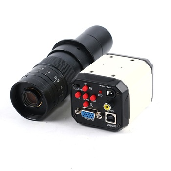 2MP HD 3 in1 Digital Industry Microscope Industrial Camera Magnifier VGA USB AV TV Outputs+180X zoom c-mount Lens C-mount Lens