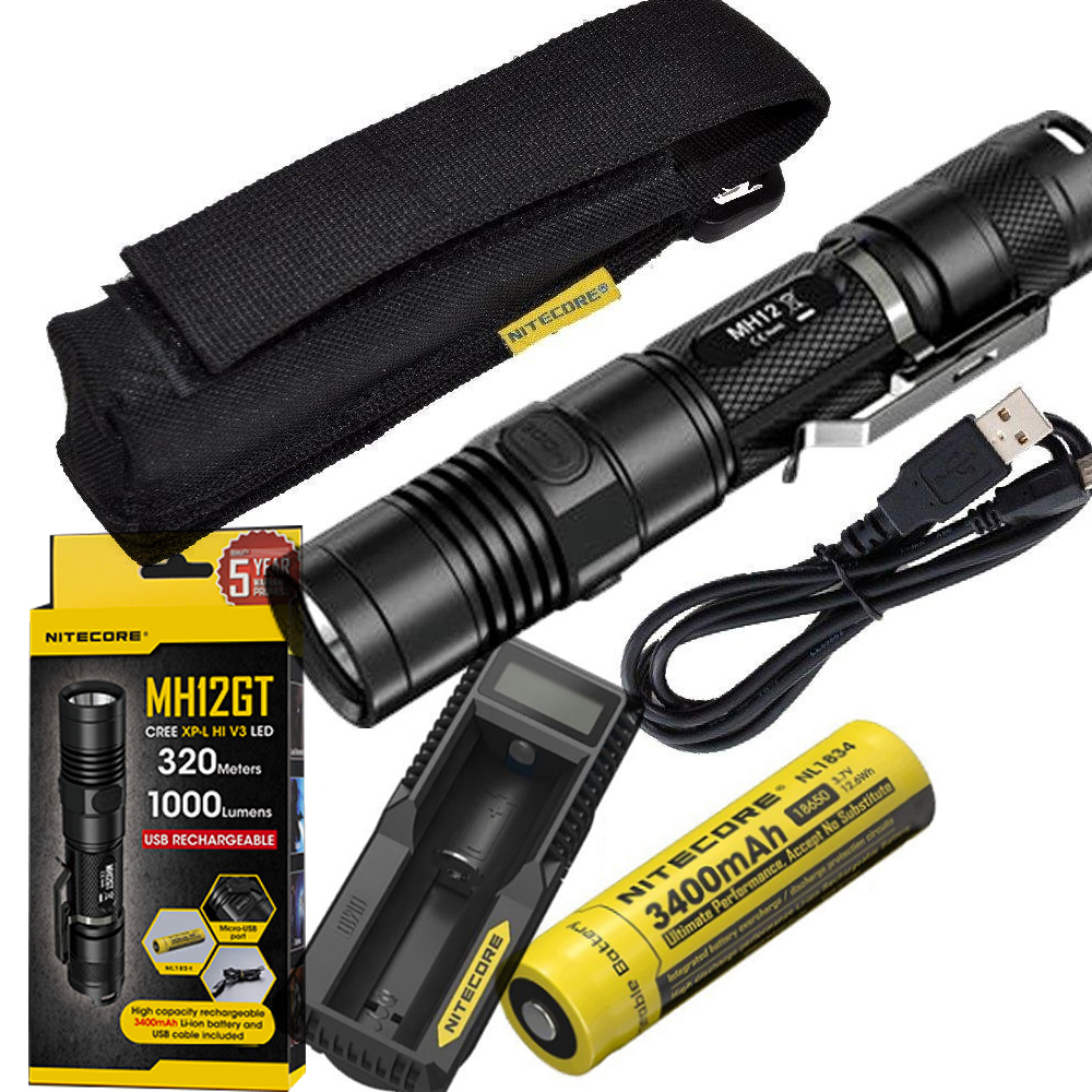 NITECORE 1000 Lm MH12GT XP-L HI V3 LED USB Rechargeable Flashlight Search Rescue Portable Torch +3400mah Battery+ holster+K1 sale nitecore mh12gt 1000 lumen led 18650 3400mah battery usb rechargeable flashlight search rescue portable torch free shipping