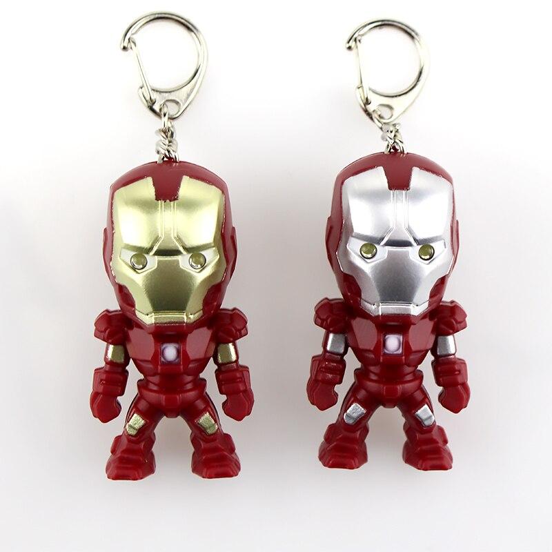 10pcs Classic Iron Man Pendant Keychain The avengers alliance LED keychain Mini PVC Action Figure with LED Light & Sound keyring