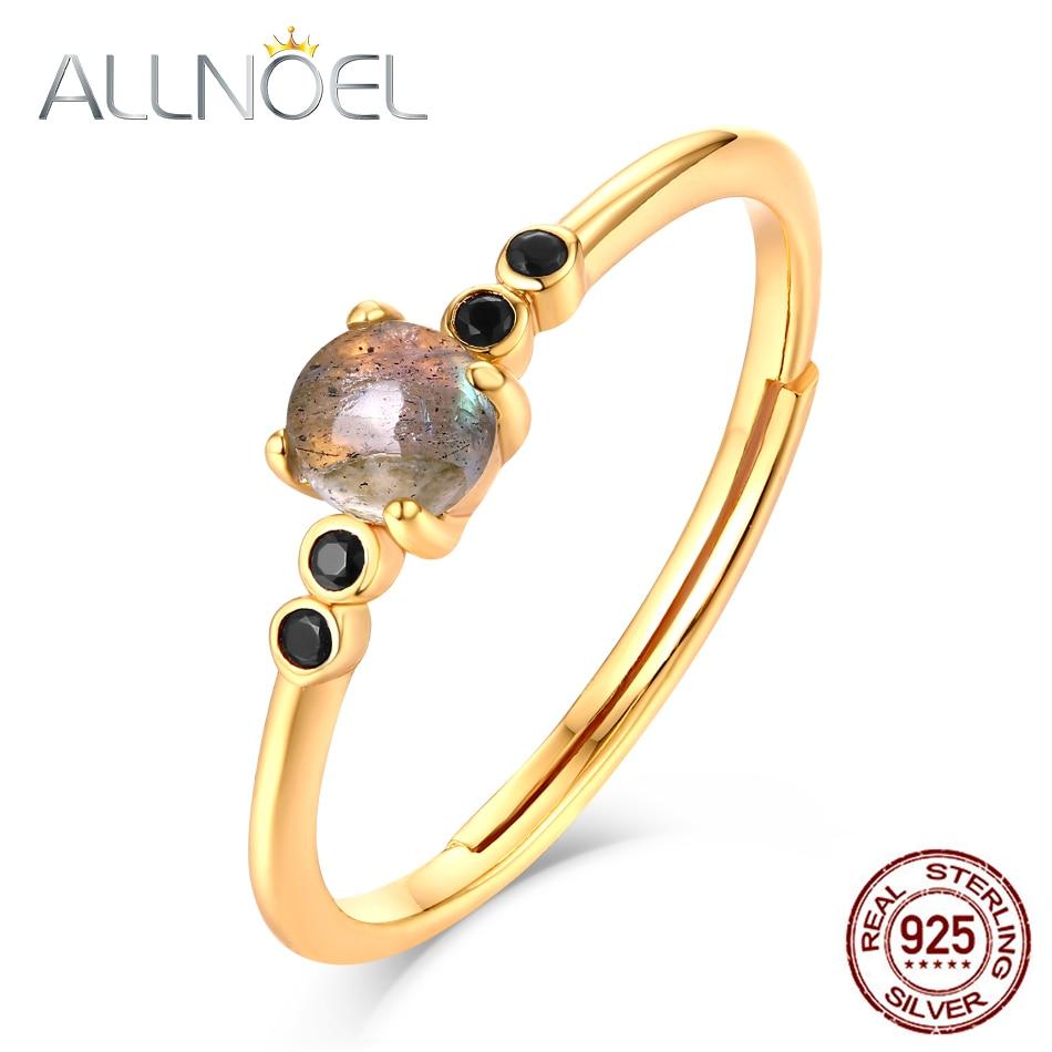ALLNOEL 925 Sterling Silver Rings For Women 100% Natural Labradorite Gemstone 9K Gold Luxury Fine Jewelry Wedding Ring 2019 New