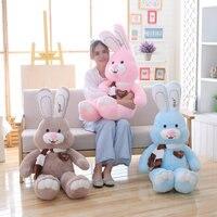 80 120cm Cartoon Scarf Heart Big Rabbit Stuffed Animal Plush Rabbit Toy Soft Stuffed Doll Smiling Cute Kawaii Gift For Children