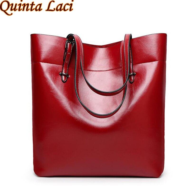 Quinta Laci High Quality Leather Women Bag Bucket Shoulder Bags Solid Big Handbag Large Capacity Top