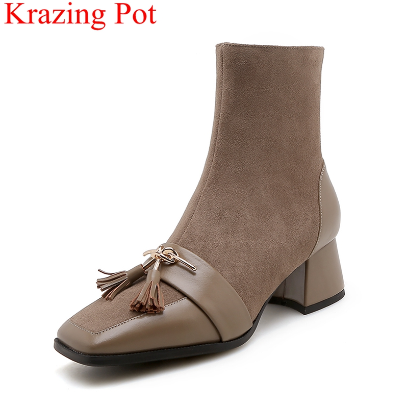 Krazing Pot 2018 new big size fringe genuine leather brand zipper square toe Winter shoes metal elegant women ankle boots L41 inflatable biggors wholesale price inflatable bouncer slide with pool for water park