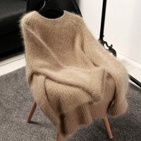 Spring Winter New Women Fashion Knitted Hairy Sweater Thick Warm Pullovers Sweaters Solid Beige Dark Gray Bottoming Clothes