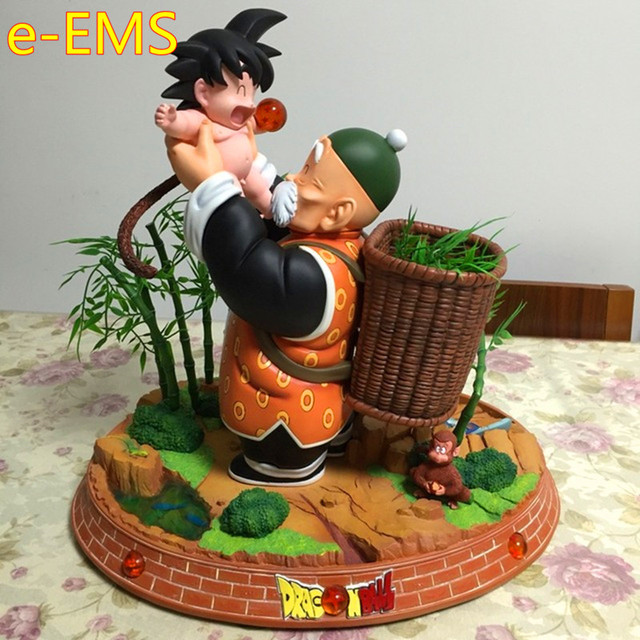 Dragon Ball DBZ Grandpa Embrace Goku Super Saiyan Resin Statue Action Figure Collection Model Toy G2346