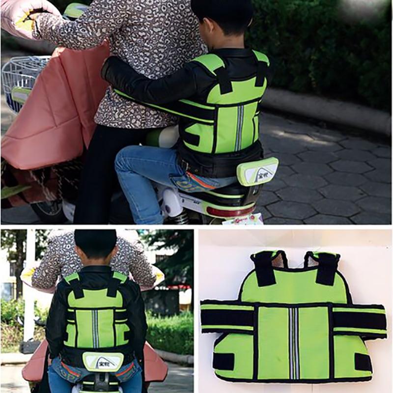 Children Safety Motorcycle Seat Belt Back Hold Protector Reflect Vest Belt Adjustable Kids Vehicle Safe Strap Carrier Harness
