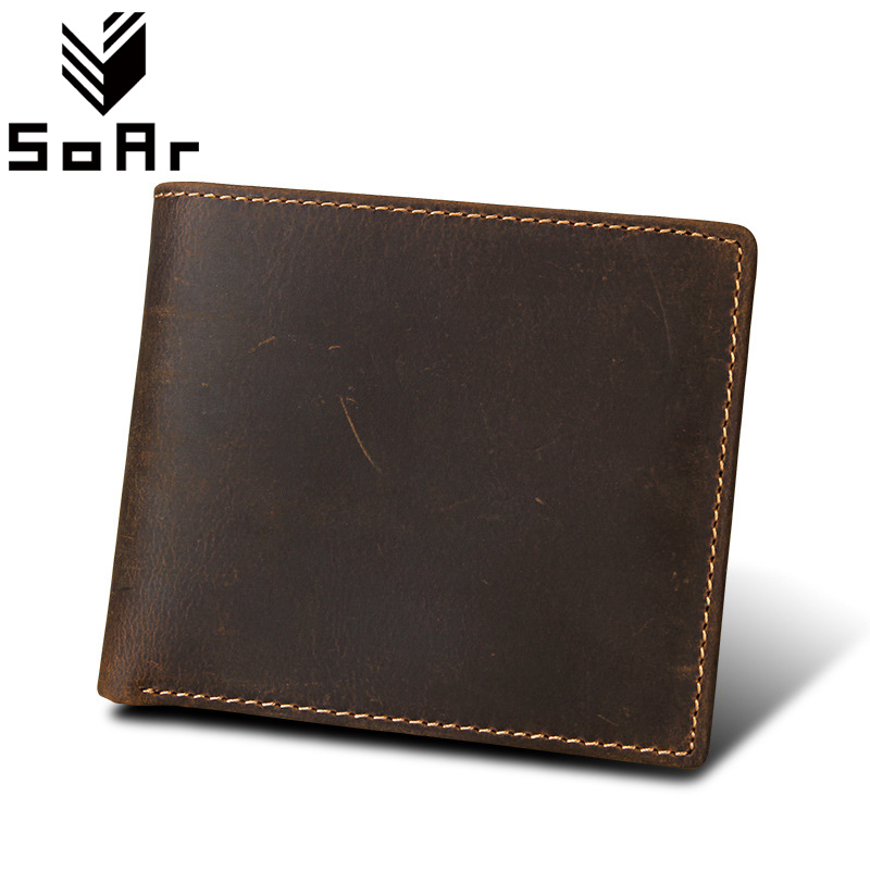 SoAr Casual Short Wallet Crazy Horse Leather Men Wallet Genuine Leather Cow Coin Purse Bag Male Card Holder Vintage dollar price simline vintage genuine cow leather men men s short wallet wallets purse card holder with zipper bag coin pocket male carteira