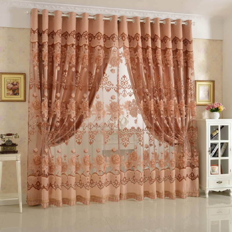 Free shipping European style fashion fancy design tulle curtain with  blackout shade curtains for living room ... - Curtain Buckle Picture - More Detailed Picture About Free Shipping