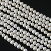 High quality white natural freshwater cultured pearl loose beads 7 8mm approx round making unique jewelry 15inch B1328