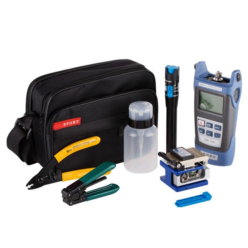 Kit de herramientas FTTH de fibra óptica 12 unids/set con cuchilla de fibra FC-6S y medidor de potencia óptica 5 km localizador de fallas visuales
