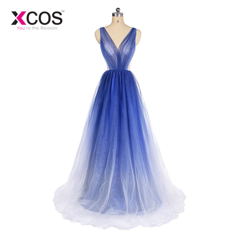 ddbb03c774d Xcos Ombre Blue Prom Dresses 2018 New Arrival Long Tulle Party Dress