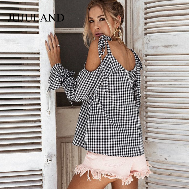 2017 Autumn Women Tops Off Shoulder Plaid Shirt Female Hollow Out Long Flare Sleeve Casual Female Blouses Black White Tops