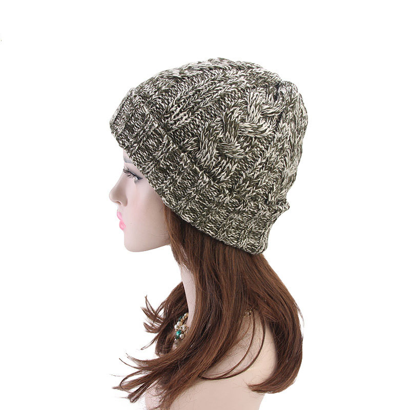 Pure Color New Arrival Ponytail Modeling Cap Fashion Winter Women 39 s Knitting Wool Hat Earpiece Cap Stretchy Warm Hat Beanie