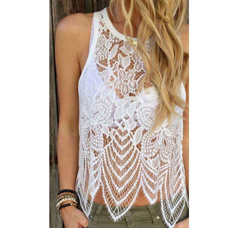 Blusas sexy hollow out summer white women lace crochet vest tank top casual sleeveless blouse - Top sexy femme ...