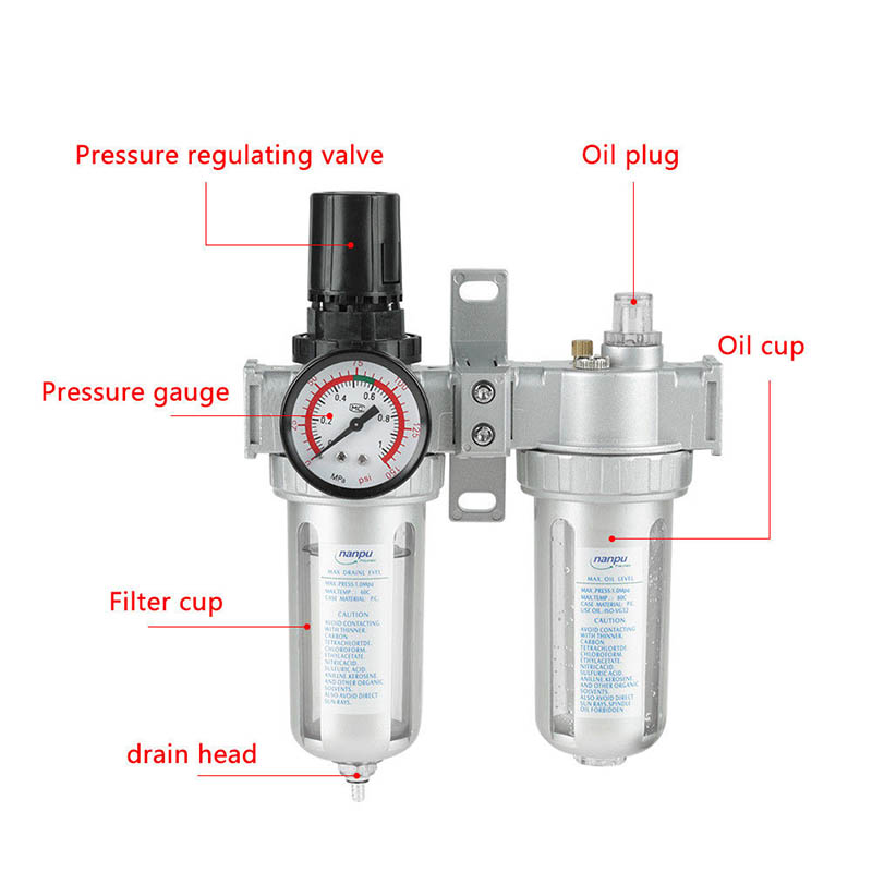 G1/2 Inch Air Compressor Filter Oil Water Separator Trap Tools with Regulator Gauge SDF-SHIPG1/2 Inch Air Compressor Filter Oil Water Separator Trap Tools with Regulator Gauge SDF-SHIP