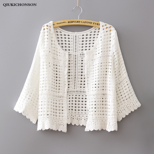 Qiukichonson Women Lace Cardigan White Spring Summer Seven Sleeve