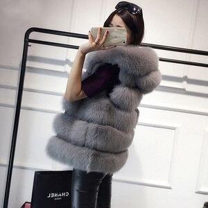 Image 4 - Hohe qualität Pelz Weste mantel Luxus Faux Fuchs Warme Frauen Mantel Westen Winter Mode pelze frauen Mäntel Jacke
