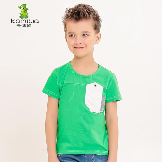 KAMIWA 2016 novo estilo verão verde algodão Adolescente meninos camisetas de manga curta T tops roupas Crianças das crianças T Camisas roupas