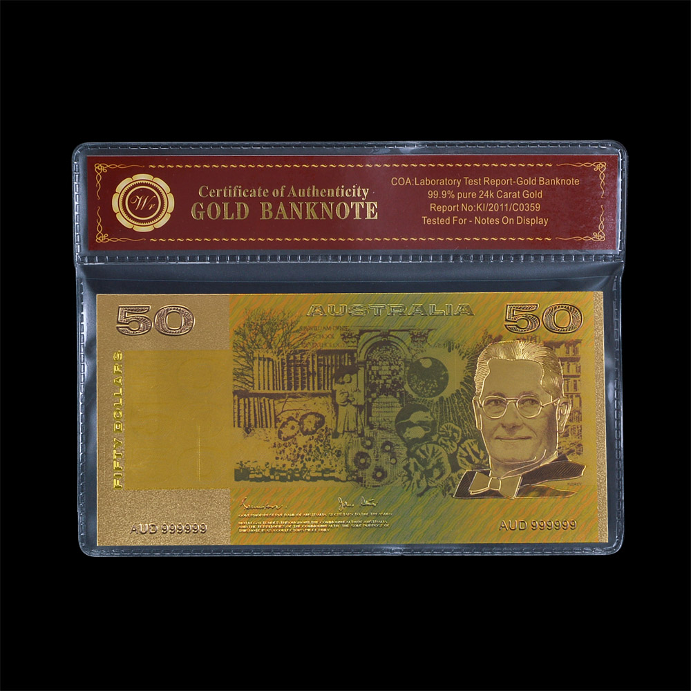 Nice Color Gold Banknote aud Normal Gold Plated Layered Bills Australian 50 Old AUD Repl ...