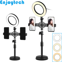 New Mini Tabletop Tripod with Dual Holders LED Ring Flash Light Lamps for Mobile phones Mounts Holder Monopod Video Bloggers