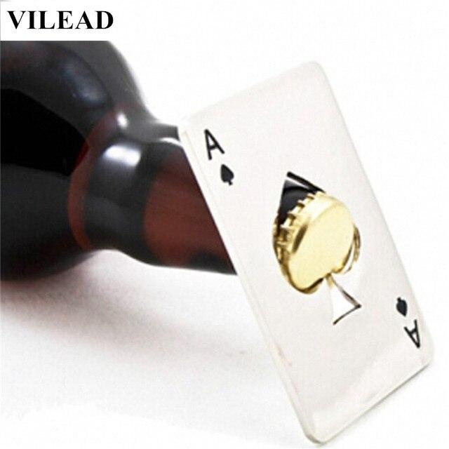 VILEAD Creative Poker Card Beer Bottle Opener Personalized Funny Stainless Steel Credit Card Bottle Opener Card of Spades Bar