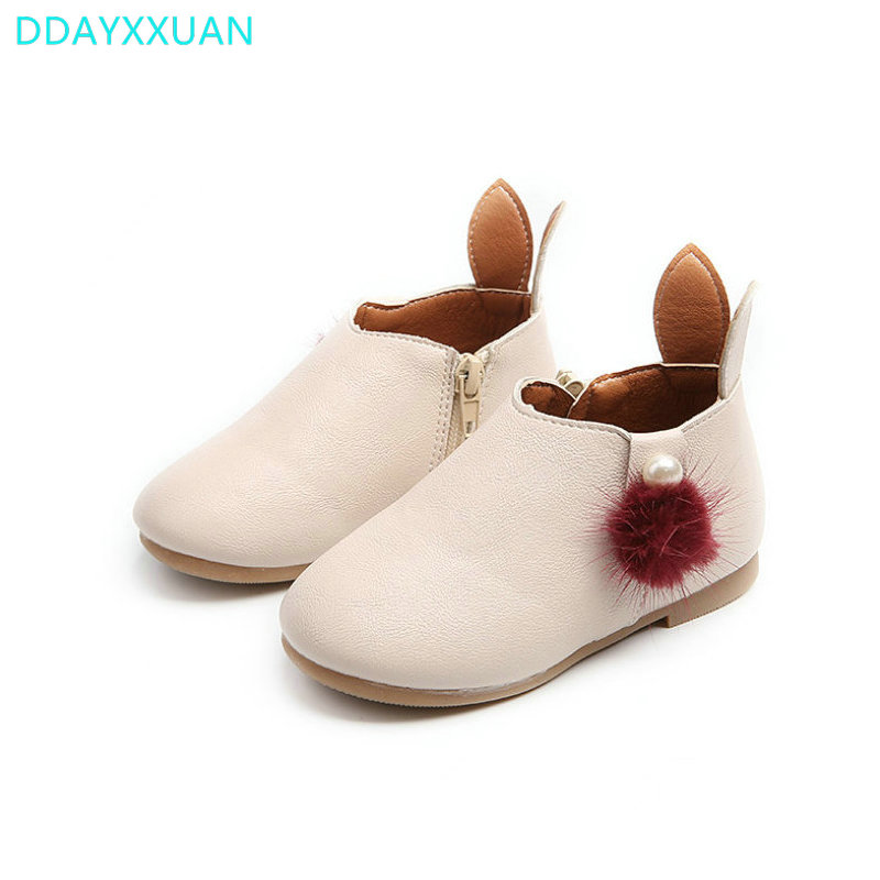 Rabbit Girls Boots 2017 New Brand Autumn Baby Shoes Princess Flat Toddler Shoes Outdoor Fashion Boots Girls Kids Sneakers 21~30
