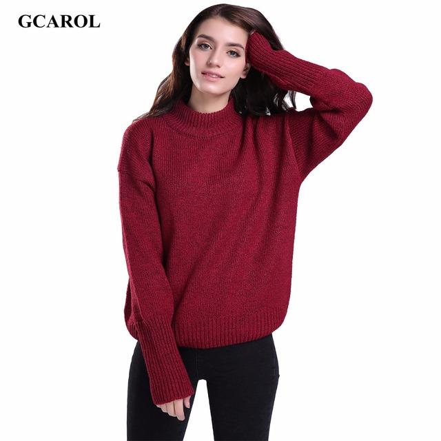 Gcarol mulheres padrão gola básica trecho camisola de tricô estilo preppy pullover primavera outono inverno grosso jumper 5 cores
