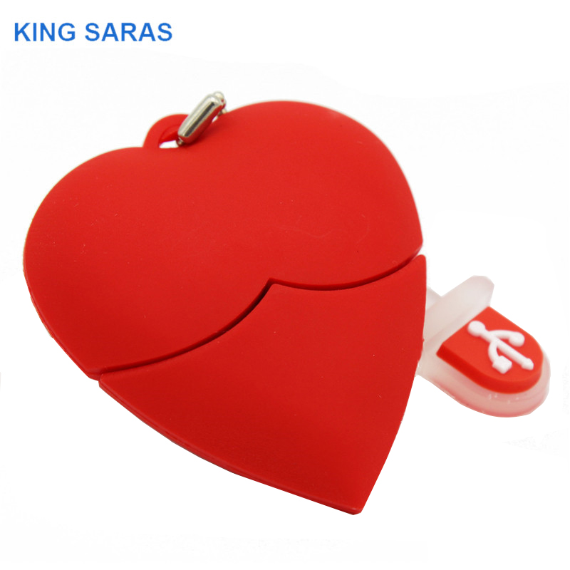 KING SARAS  Cartoon Red Heart Model Usb2.0 4GB 8GB 16GB 32GB 64GB Pen Drive USB Flash Drive Creative Love Gift