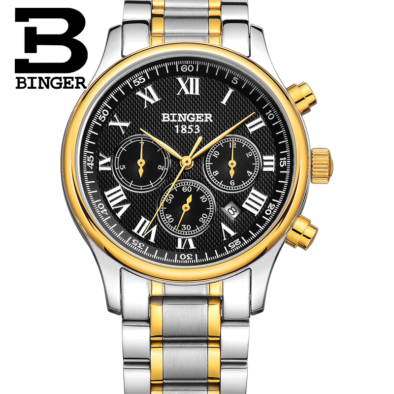 Authentic Switzerland BINGER Brand Men automatic mechanical full steel leather strap gold fashion casual watch free shipping authentic hot luxury switzerland binger brand men automatic mechanical full steel leather strap fashion male watch free shipping