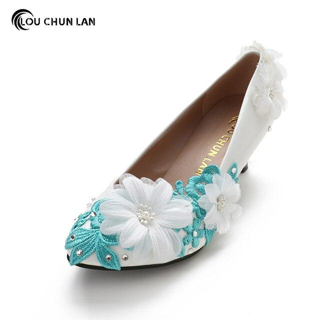 Aliexpress Com Damen Pumps Blau Hochzeit Schuhe Med Ferse