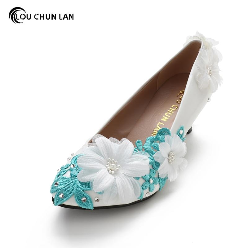 Women Pumps Blue Wedding Shoes Med Heel Three Dimensional Flower