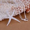 Plata Chapado En cadena de La Serpiente collar colgante estrellas de mar de cristal joyería al por mayor caliente de la manera estrella de Mar joyería de las mujeres