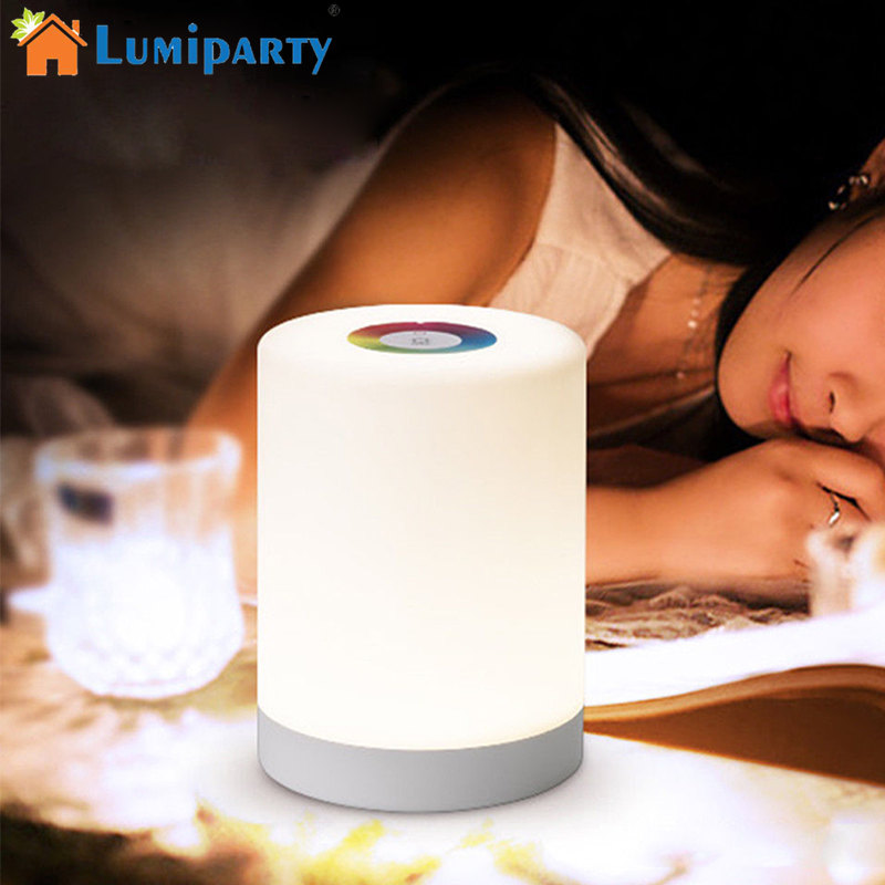 Lumiparty Smart Bedside Lamp Touch Sensor LED Night Light RGB Dimmable Atmosphere LED Lamp Intelligent Mood Nightlight strapless a line short party cocktail dress