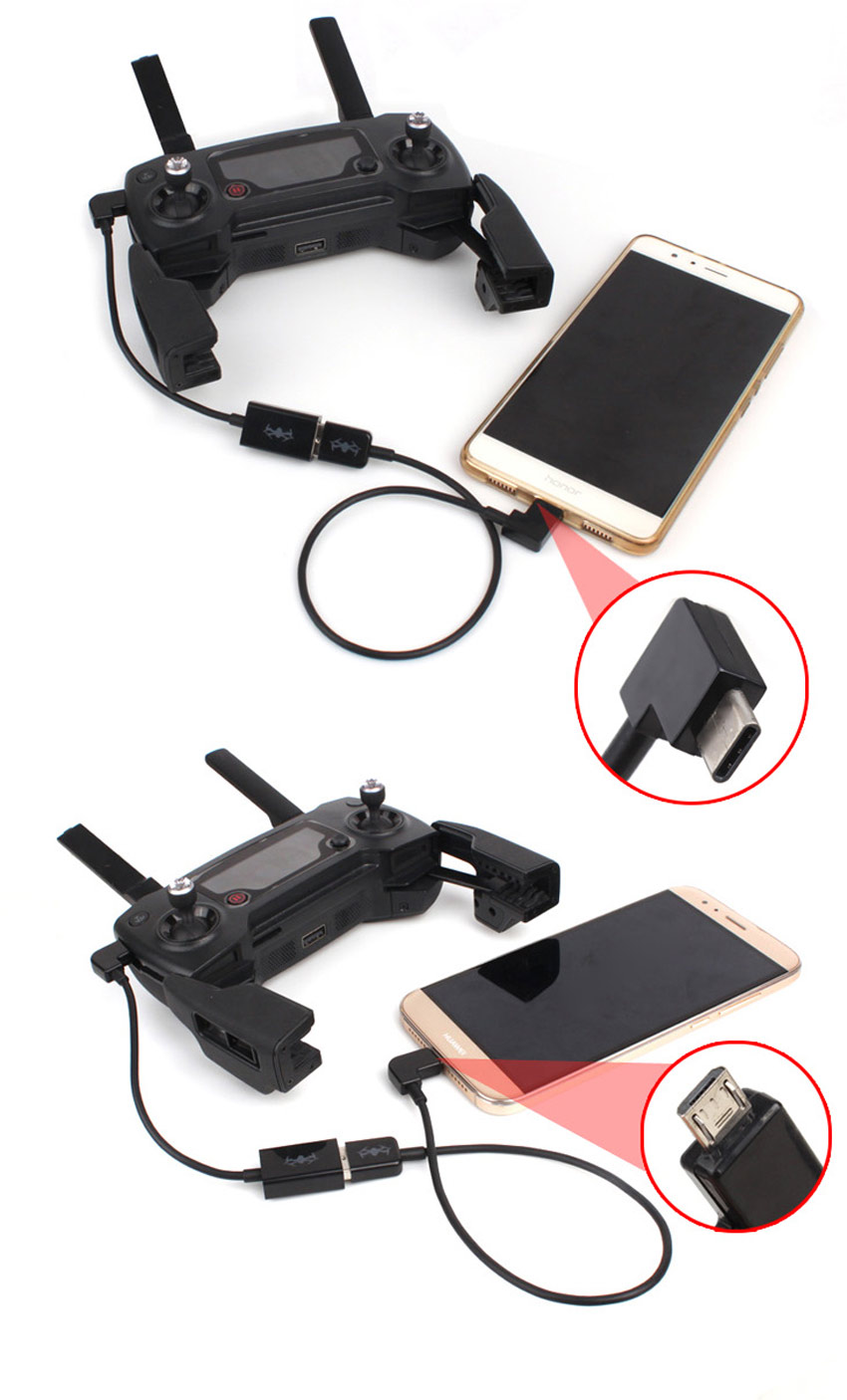 DJI SPARK DJI Mavic Pro Remote Controller Data Converting Cable USB Port Energy Conversion Line Wire for Smartphone Tablets