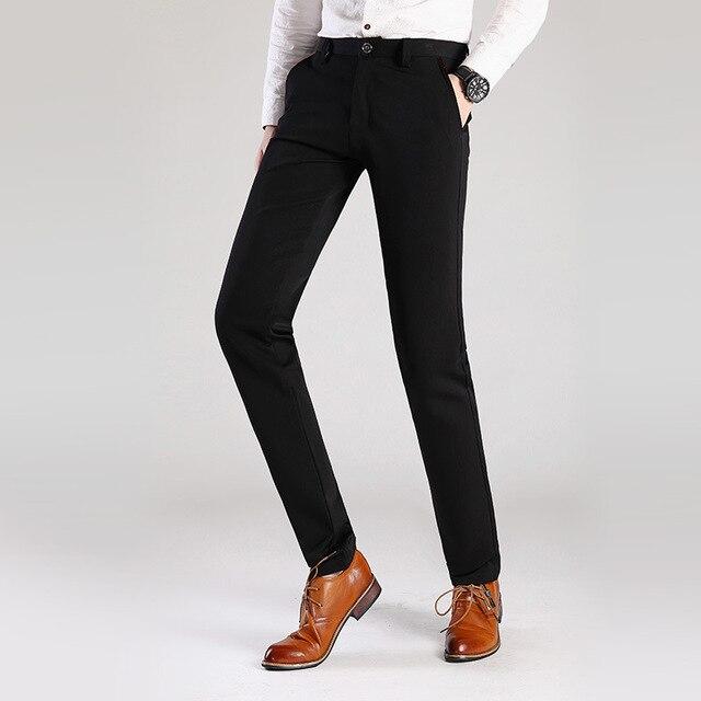 7c24fbfef5 2017 hombres vestido Pantalones más tamaño formal Pantalones slim fit  Pantalones boda hombres negro Pantalones de