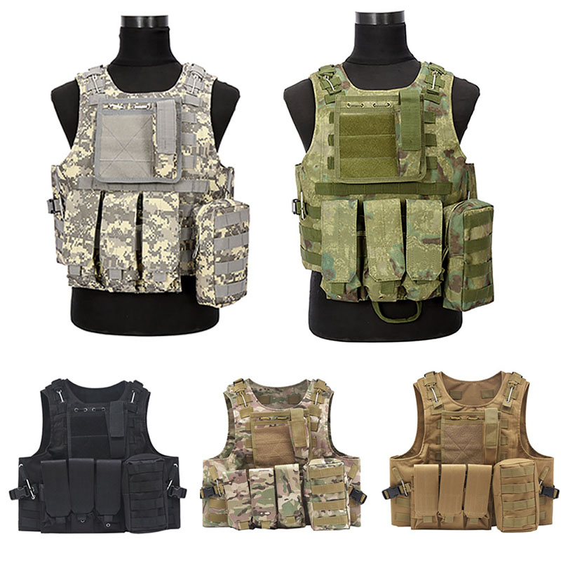 2017 NEW Camouflage Hunting Military Tactical Vest Wargame Body Molle Armor Hunting Vest CS Outdoor Equipment with 5 Colors