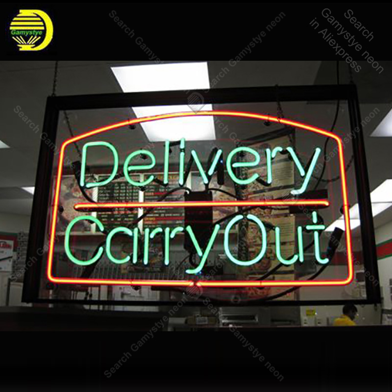 Neon sign for Delivery Carry Out Neon Sign Handmade Real Glass Tube Quality Guarantee Business neon lights vintage Lamps hotel